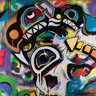 "Chantelle Trainor-Matties, ""City Otter"", Acrylic and Spray Paint on Canvas, 30""x30"" 2019"