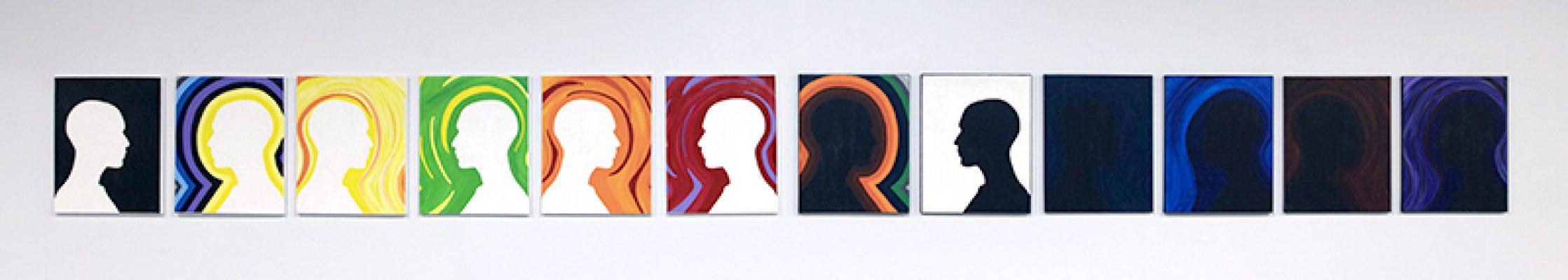 """Human Emotion"", 2019, Dana Brook, Acrylic on 12 Canvases"