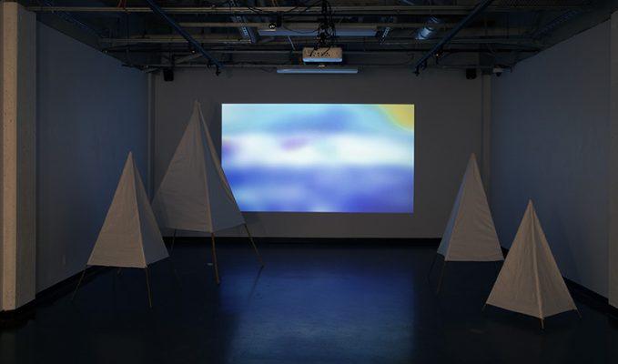 "Beru Bell, ""pointy trees,"" mixed media installation, 2020"