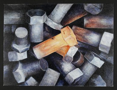 """Susan Reilley, """"Boltz,"""" Painting, 18"""" x 24"""", 2003, Accession number: 2003.008.001"""