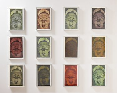 """Crystal Swetlikoff, """"The Absence of Restraint,"""" 12 small photo etchings, 13 3/8"""", 8 7/8"""" 2003, Accession number: 2003.010.001"""
