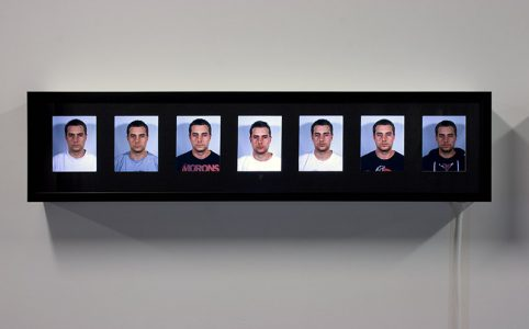 """Chris Janzen, """"Ritalin Self Portraits: With and Without,"""" Slide film and lightbox, 9 1/4"""" x 39"""" per lightbox, 2010"""