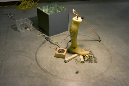 """Scott Shell, """"Almost Knowing,"""" Wax, electronic motors, debris, wood beads, lamp, and copper piping, 2010, Accession number: 2010.003.001"""