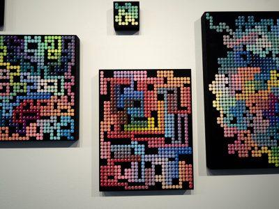 """Madeline Hildebrandt, """"Pixelated Pathways,"""" Acrylic gouache on panel, 2019"""