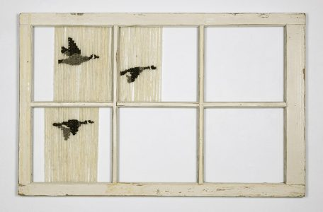 "Willow A. Mussell, Untitled, Coast Salish weaving on window frame, 47"" x 30"", 2019"
