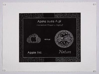 """Apple sues A."", 2012, Mario de Santis, Lino Cut Print on Stonehenge paper"