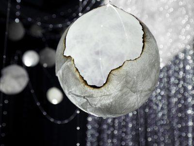 """The Veil of Illusion"", 2019, Jenny Kingma, Paper mache, fibre optic cable, audio, Installation."
