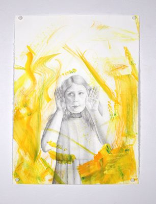 """""""Why Are You So Emotional (Yellow?)"""", 2019, Madeline Funk, Mixed Media on Paper"""