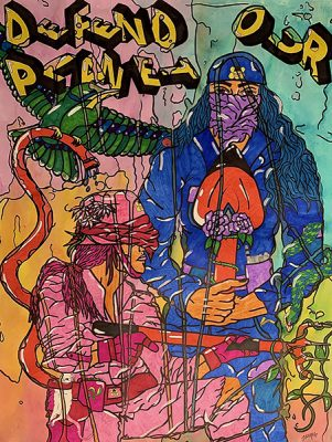 """Jenna Cowie-Randle, """"Fight for Our Planet"""", Poster,39.25"""" x 27.5"""", 2020"""