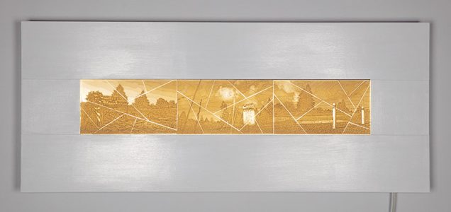 "Jeffrey Rassmussen, ""Blue-Penciled Landscapes"", Light box in wood and LED lights, 51""W x 21""H X 5"" , 2019"