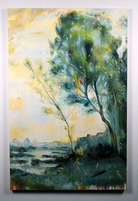 """""""Paysanne Gardant une Vache au Bord de L'eau"""", 2018, Christopher Friesen, Oil and Acrylic Wash on Canvas, Painting"""