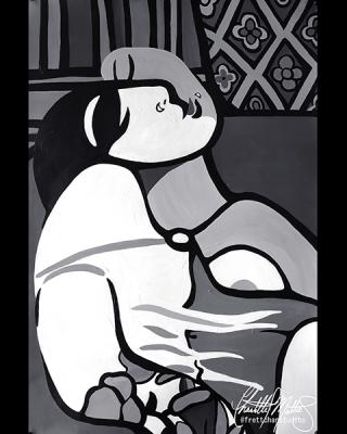 "Chantelle Trainor-Matties, ""Le Cauchemar: A Self Portrait"", Acrylic on Stonehenge, 14""x22"" framed, 2019"
