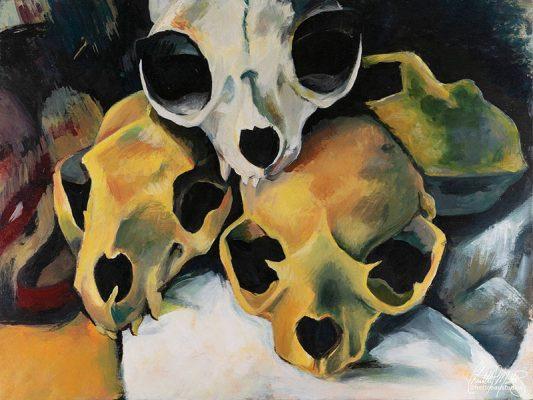"Chantelle Trainor-Matties, ""Pyramid of Animal Skulls"", Acrylic on Panel, 24"" x 18"", 2019"
